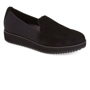 Eileen Fisher dell black suede slip on loafer
